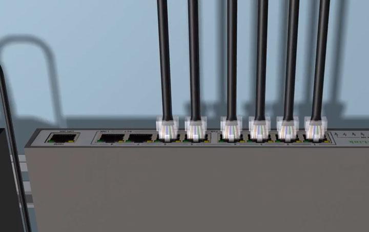 подключение зажимов от кабеля к POE коммутатору