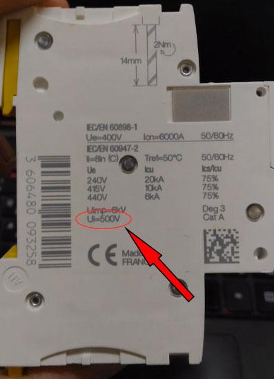 номинальное напряжение изоляции автоматического выключателя