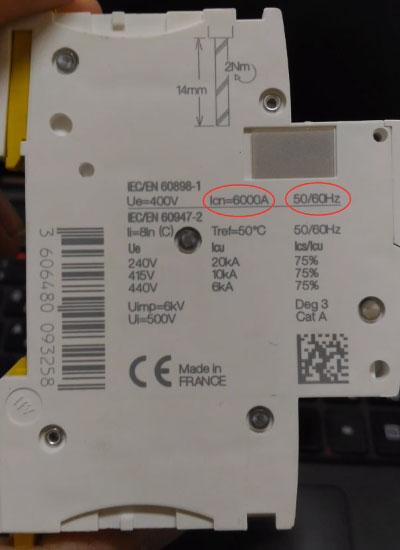 наибольшая отключающая способность автоматического выключателя надпись сбоку