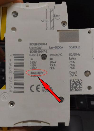 номинальное выдерживаемое импульсное напряжение автоматического выключателя