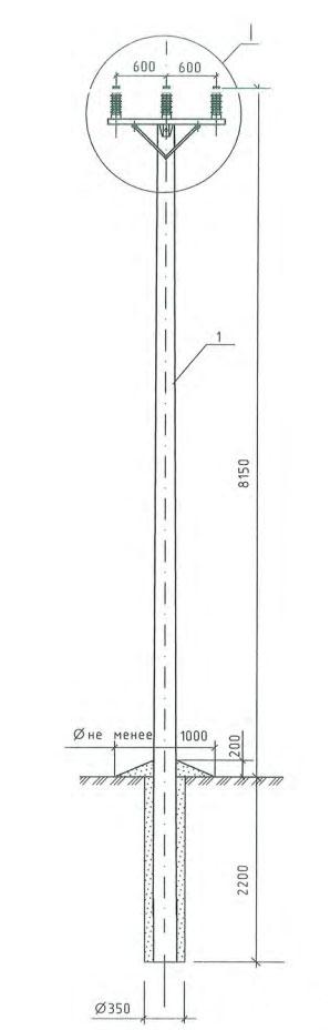 схема установки и монтажа промежуточной опоры ВЛЗ-35кв с СИП-3