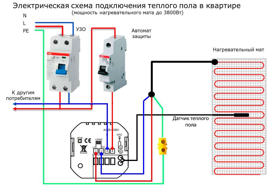 схема подключения термостата к теплому полу