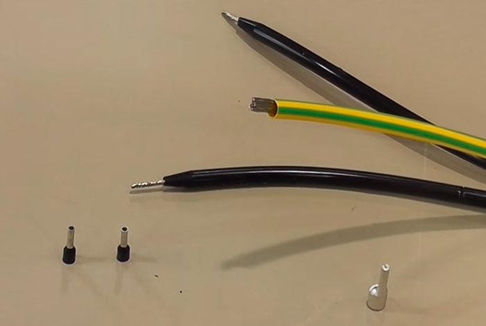 опрессовка греющего кабеля втулочными наконечниками