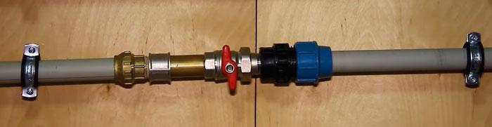 подготовка трубы с вентилем под греющий кабель