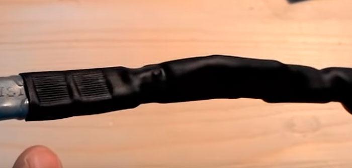 поджатие муфты на кабеле пассатижами