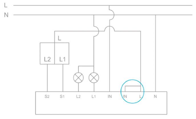 схема подключения защиты от протечек с двухклавишным выключателем света