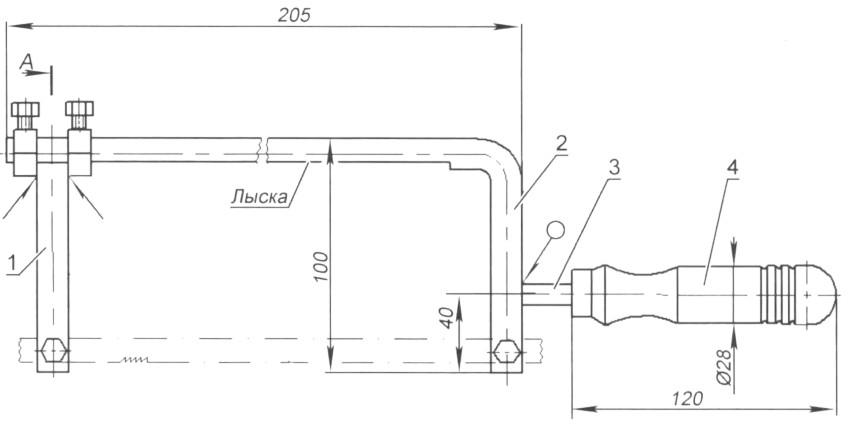 Конструкция ножовки: 1 – стойка; 2 – рамка-держатель; 3 – хвостовик; 4 – ручка