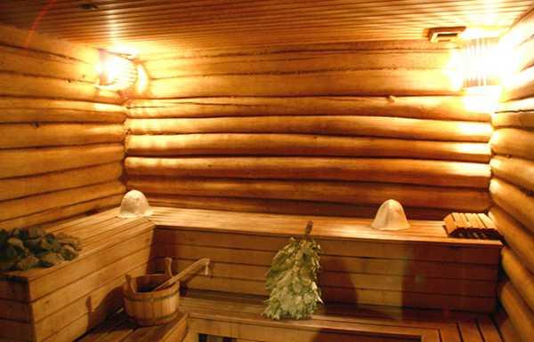 Русская баня из бревен. Фото внутри