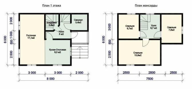 Планировка дома 8 на 8 - 100 фото лучших идей планировки частных домов и коттеджей
