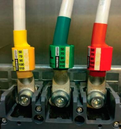 стикеры для измерения температуры нагрева контактов на автоматах и кабеле